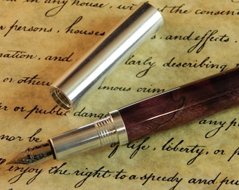 Provincial 6061 Aluminum Fountain Pen with Purple Dyed Maple - Free Shipping #FP10295
