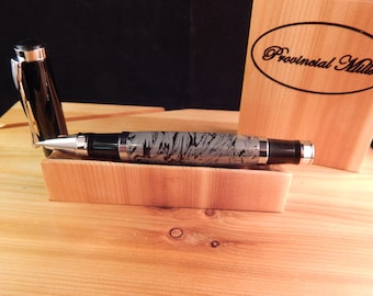 Oxford Rollerball Pen with Black Lava and White Aluminum #ME107