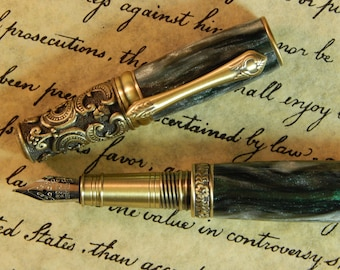 Victorian Fountain Pen - Irish Tide Acrylic - Free Shipping - #FP10118