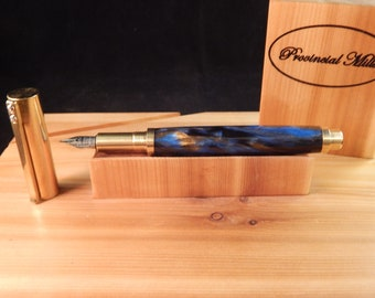 RAW C3604 Brass Fountain Pen with Gold Panning Acrylic  #FP10298