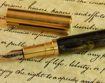RAW C3604 Brass Fountain Pen with Industiral Age Acrylic - Free Shipping  #FP10300