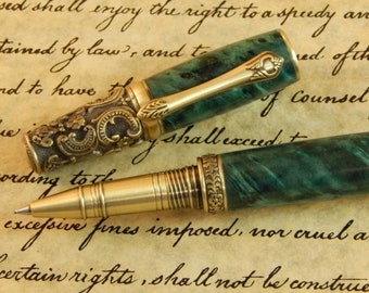 Victorian Rollerball Pen with Turquoise Box Elder - Free Shipping #RB3095