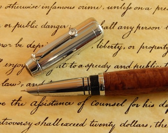 Sale *** Arete Fountain Pen with Red Mallee Burl - Free Shipping #FP10263