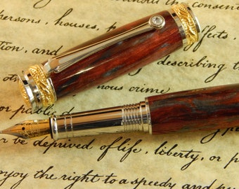 Majestic Jr. Fountain Pen with Blood Iron Acrylic - Free Shipping #FP10132