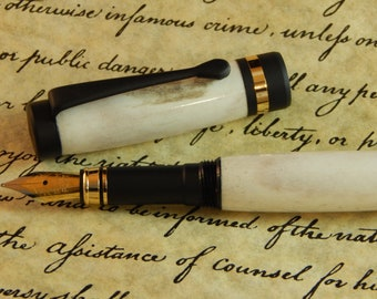 Classic Fountain Pen with Deer Antler - Free Shipping #FP10141