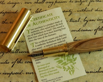 RAW C3604 Brass Fountain Pen with Bethlehem Olive Wood  - Free Shipping #FP10308
