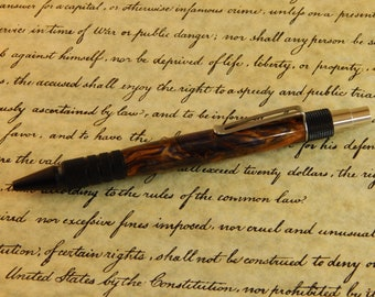 Duraclick Black Annodized Aluminum Ballpoint with Amethyst Flame Acrylic - Free Shipping #BP00260