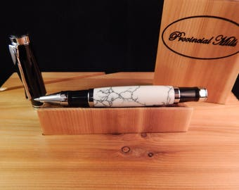Oxford Rollerball Pen Crafted from White with Black Vein Penn Stone #RB3137