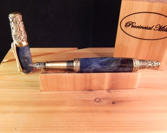 Victorian Fountain Pen with Dyed Buckeye Burl #FP10118
