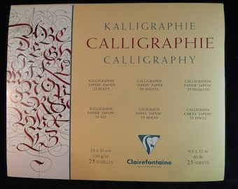 Clairefontaine Classic Calligraphy / Lettering / Writing Paper Pad, 25 Sheets, 130g Smooth Ivory Simili Japon Paper.