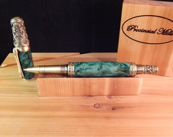 Victorian Rollerball Pen with Turquoise Box Elder #RB3095
