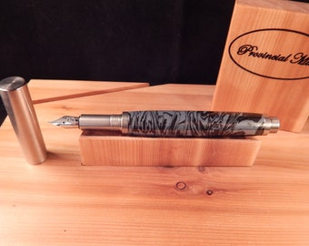 RAW 303 Stainless Steel Fountain Pen with Cobaltium and Black Lava #ME119