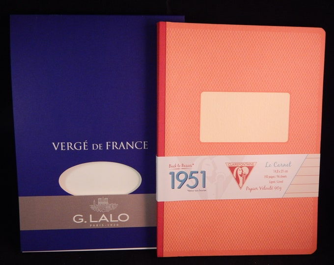 """Featured listing image: 8 1/4"""" x 5 3/4"""" Letter Writing and Note Tablets by G. Lalo and Clairefontaine"""