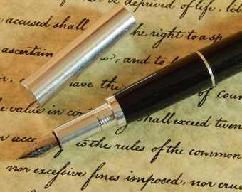 RAW 6061 Aluminum Fountain Pen with Ancient Bog Oak and Solid Silver Band  - Free Shipping #FP10287