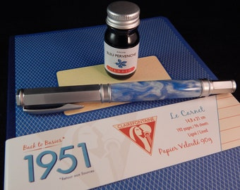 Fountain Pen Gift Package - Vertex Fountain Pen with Snow Flurry Acrylic, J Herbin Ink, and Clairefontaine Notebook  GB001