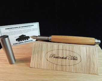 RAW 303 Stainless Steel Fountain Pen with Wood from the A800 Barracks at Fort Knox #DS502