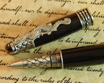 Dragon Rollerball Pen with Ancient Bog Oak - Free Shipping #RB3115