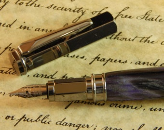Vertex Fountain Pen with Violet Ripple Acrylic - Free Shipping #FP10181