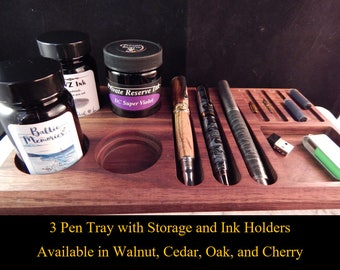3 - Pen Tray with Storage Area and Ink Holders Crafted from Walunt, Oak, Cherry, or Cedar