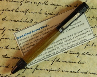 Clip Action Ballpoint Pen with Wood from the Great Dismal Swamp - Free Shipping #BP00224