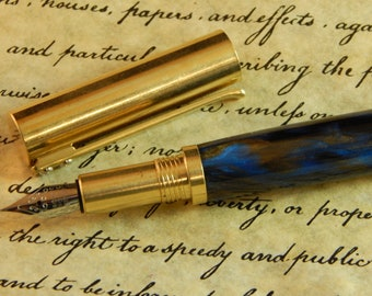 RAW C3604 Brass Fountain Pen with Gold Panning Acrylic - Free Shipping  #FP10298