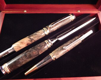 Majestic Jr. Gift Set with Buckeye Burl and Rosewood Gift Box (Ballpoint, Rollerball, Letter Opener Set)  #GS012