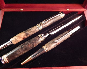 Sale *** Majestic Jr. Gift Set with Buckeye Burl and Rosewood Gift Box (Ballpoint, Rollerball, Letter Opener Set)  #GS012