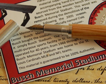 RAW 6061-T6 Aluminum Fountain Pen with Busch Memorial Stadium Wood - Free Shipping #STW211