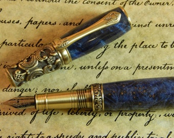 Victorian Fountain Pen with Dyed Maple Burl - Free Shipping #FP10118