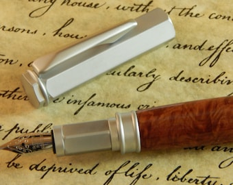 Vertex Fountain Pen with Red Mallee Burl - Free Shipping #FP10184