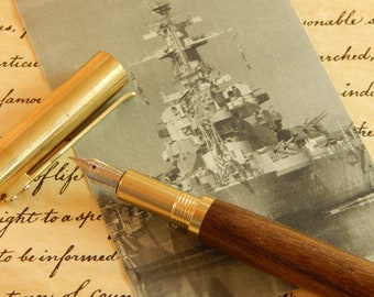 RAW C3604 Brass Fountain Pen with Limited Edition USS North Carolina Battleship Teak - Free Shipping #BS095
