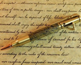 30 Caliber Bolt Action Ballpoint with Gold Bronze and Navy Titanium - Free Shipping #ME127