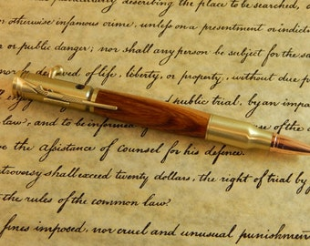 30 Caliber Bolt Action Ballpoint with Lignum Vitae Wood - Free Shipping #BP00289