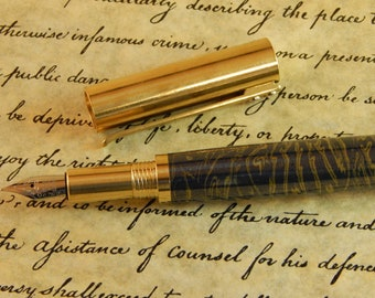 RAW C3604 Brass Fountain Pen with Navy Titanium and Gold - Free Shipping #ME121