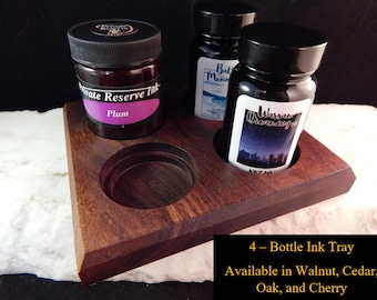 4 - Ink Bottle Tray Crafted from Walunt, Oak, Cherry, or Cedar