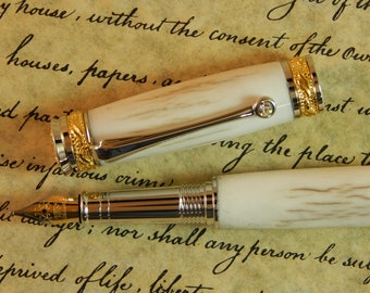 Majestic Jr. Fountain Pen with Deer Antler - Free Shipping #FP10130