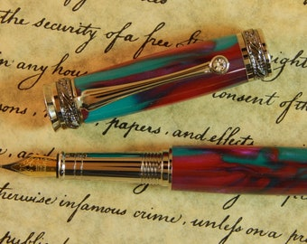 Majestic Jr. Fountain Pen with Cerulean Blush Acrylic - Free Shipping #FP10137