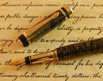 Classic Elite Fountain Pen with Gold Bronze and Black Titanium - Free Shipping #ME100