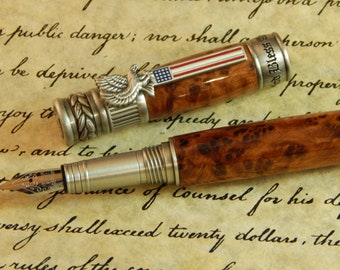 American Patriot Fountain Pen with Thuya Burl - Free Shipping #FP10221