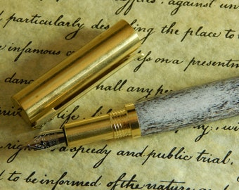 RAW C3604 Brass Fountain Pen with Elk Antler - Free Shipping #FP10296