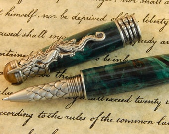 Dragon Rollerball Pen with Turquoise Dyed Buckeye Burl - Free Shipping  #RB3110