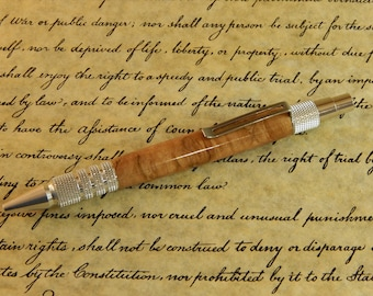 Duraclick 6061-T6 Aluminum Ballpoint with Sycamore Burl - Free Shipping #BP00259