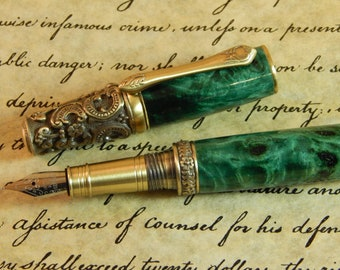 Victorian Fountain Pen with Buckeye Burl Dyed Green - Free Shipping #FP10120