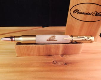 30 Caliber Bolt Action Ballpoint Crafted from Deer Antler #BP00287