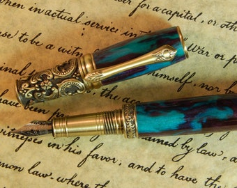 Victorian Fountain Pen - Razzle Berry Acrylic - Free Shipping - #FP10117