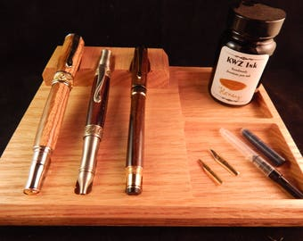 3 - Pen Tray with Storage Crafted from Red Oak