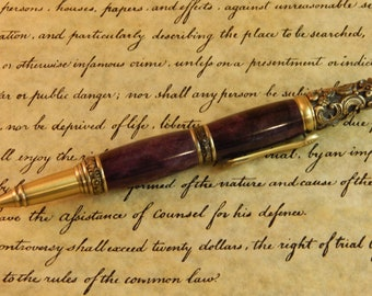 Sale *** Victorian Twist Ballpoint with Purple Dyed Maple Burl - Free Shipping #BP00374