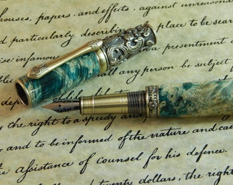 Victorian Fountain Pen with Dyed Box Elder - Free Shiping #FP10119