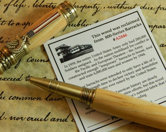 American Patriot Rollerball Pen with Fort Bragg Barracks Wood - Free Shipping #RB3122