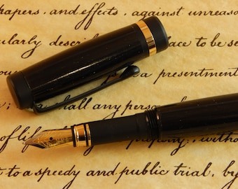 Classic Fountain Pen with Ancient Bog Oak - Free Shipping #FP10236